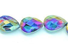 9294 Bead Glass Teardrop Teal 18mm PK6 *UK EBAY SHOP*