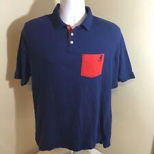 Kangol Mens Polo Shirt Short Sleeve 100% Cotton Blue w Red Accents Pocket Medium