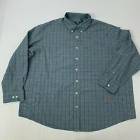 IZOD Mens 3XL Blue checks Long Sleeve Button Front shirt Big & Tall