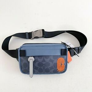 NWT Coach Denim Blue Mist Signature Mini Edge Colorblock Belt Bag Fanny Pack