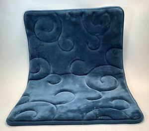 """Blue Microdenier Polyester Bathroom 17"""" x 24"""" Plush Rug With Non-Slip Backing"""