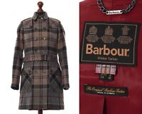 Women BARBOUR Winter Tartan Trench Coat Jacket Wool Checked Grey Size UK 10 US 8