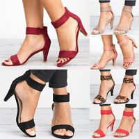 Women's Dance Shoes Ankle Strap Flat Casual Sandals Shoes Chunky Mid Heels Dress
