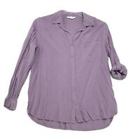 Beach Lunch Lounge Tunic Blouse Womens M Medium Purple Long Tab Sl Button Front
