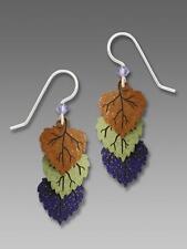 Sienna Sky Earrings Sterling Hook Triple Poplar Leaves in Old Gold Sage & Grape