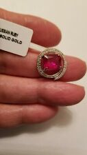 LOVELY 3.28 CTW RUSSIAN RUBY & DIAMOND 10KT SOLID WHITE GOLD PENDANT 17MM