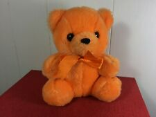 First & Main Rainbow Bear Plush Orange Ribbon Sitting Stuffed Animal Soft Teddy