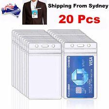 20 Quality plastic ID CARD HOLDER POUCH clear PVC lanyard work BADGE Zip Lock AU