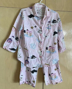 Nick And Nora Pink Cotton Rabbits Plum Jam Tea Party Pajamas Set Size Medium