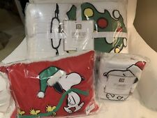 Pottery Barn Peanuts Christmas Twin Quilt Standard Sham Snoopy Pillow holiday