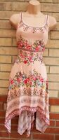 H&M PINK FLORAL PAISLEY HANKY HEM BOHEMIAN SLEEVELESS A LINE FLIPPY TEA DRESS S