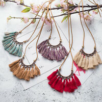 Women Boho Tassel Necklace Leather Rope Chain Silk Fabric Retro Choker Jewelry T