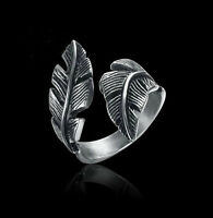 New Fashion Retro Antique Silver Stainless Steel Feather Ring Band Jewelry Gift