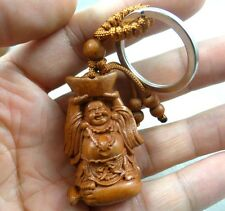 42*33MM Hand-carved Buddha head Wooden Crafts, Key Chain, Key Ring g28
