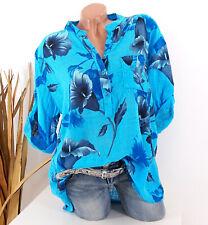 Bluse Damen Tunika 42 44 46 türkis Longbluse Fischerhemd Leinen Optik Blumen