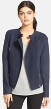 NORDSTROM TROUVE Blue Crackle Felt Melton MOTO BIKER JACKET XS 7218