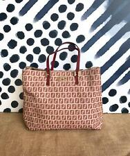 FENDI Beige Canvas Red Zucchino FF Logo Leather Gold Tote Bag Women's ON SALE!