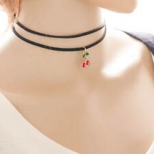 Gothic Black Lace Choker Collar Necklace Jewelry Cherry Pendant Woman Gift DJNG