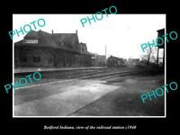 OLD LARGE HISTORIC PHOTO OF BEDFORD INDIANA THE RAILROAD DEPOT STATION c1940