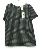 Philosophy Apparel Womens Textured Short Sleeve Boxy Top Crew Neck Buttoned M