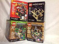 NEW 4 Minecraft Lego Sets Lot 21102 Forest 21105 Village 21106 Nether 21107 End