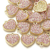 10pcs Alloy Rhinestone Heart Pendants Light Rose Mini Metal Charms Craft 18x17mm