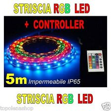 STRISCIA A LED SMD 3528 RGB IP65 5 METRI BOBINA CON ALIMENTATORE E TELECOMANDO