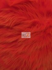 SOLID SHAGGY FAUX FUR LONG PILE FABRIC - Fire Red - BY YARD MONGOLIAN COSTUMES