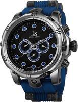 Joshua & Sons JS71BU Swiss Quartz Day Date GMT Blue Plastic Strap Mens Watch