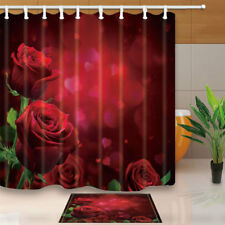 Red Roses Floral Waterproof Fabric Bathroom Shower Curtain Set & 12 Hooks 71x71""