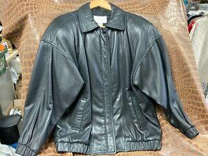 Vintage Nordstrom Town Square Brand Black Leather Jacket Men's Size Large DS30