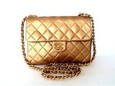 CHANEL Classic Golden Bronze Quilted Lambskin VINTAGE Flap Shoulder X-Body Bag