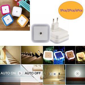 1/2/4 Pcs US EU Plug-in Auto Sensor Control LED Night Lights Lamp for Bedroom LM