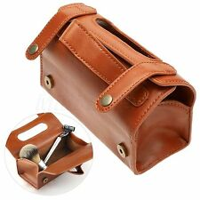 Brown Leather Travel Sports Pouch Case Shaving Brush Razor Toiletry Bag Mens Gif