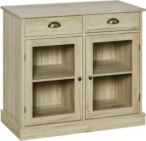 Wood With Glass Doors Console Sideboard Buffet Table With Storage
