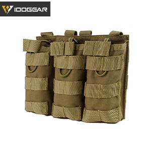 IDOGEAR Tactical Mag Pouch Molle Triple MAG Carrier For 5.56 Paintball Army Camo