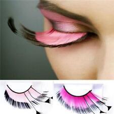 Long Pink Costume Feather Exaggerated Party Fake False Eyelashes Eye Lashes LA