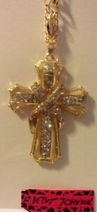"""NWT BETSEY JOHNSON WRAPPED EASTER CROSS CLEAR CRYSTAL PENDANT NECKLACE 24"""""""
