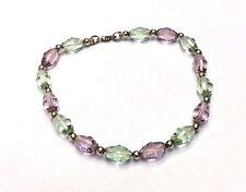 "Solid 14K Yellow Gold Beads and Purple + Green Swarovski Crystal Bracelet 7.5"""