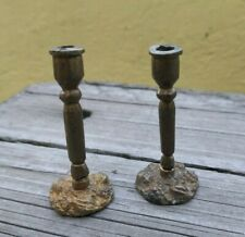 ANTIQUE OLD VINTAGE DOLLHOUSE MINIATURE TWO BRASS CANDLESTICKS ALTAR OR CHAPEL
