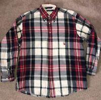 Men's VTG 90's Nautica Plaid Long Sleeve Shirt Sz L