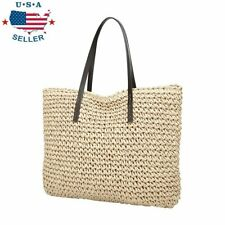 Women Beach Shoulder Hand Bag Straw Large Woven Handbag Casual Lady Tote Shopper