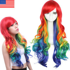 Multi Color Rainbow Wig Long Curly Wavy Hair With Bangs Women Cosplay Wigs Party