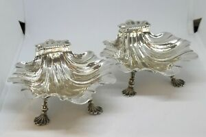 1763 Pair of Sterling Silver Footed Shell Dishes, by Edward Aldridge I of London