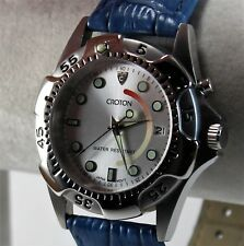 Croton Men's Sports Watch, SS Exhibition Back Case, Japan AGS, Blue Leather