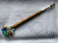 Lace Bobbin Wooden Multi-coloured Glass Beaded Spangle Thread