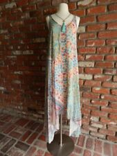 JOHNNY WAS~$328 Love Asymmetrical Embroidered Bohemian Slip Dress w/Slip NWT ~ L
