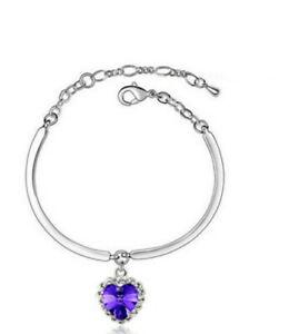 Hot Women's New Fashion Jewelry Rhinestone Lucky Heart Crystal Bracelet purple