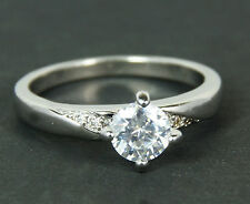 Women's White Gold Plated clear Crystal Solitaire ring Jewellery Size O