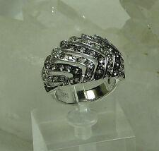 HSN-Brown Sugar .78ct Smoky Quartz & Diamond 925 Sterling Silver Wave Ring  SZ 6